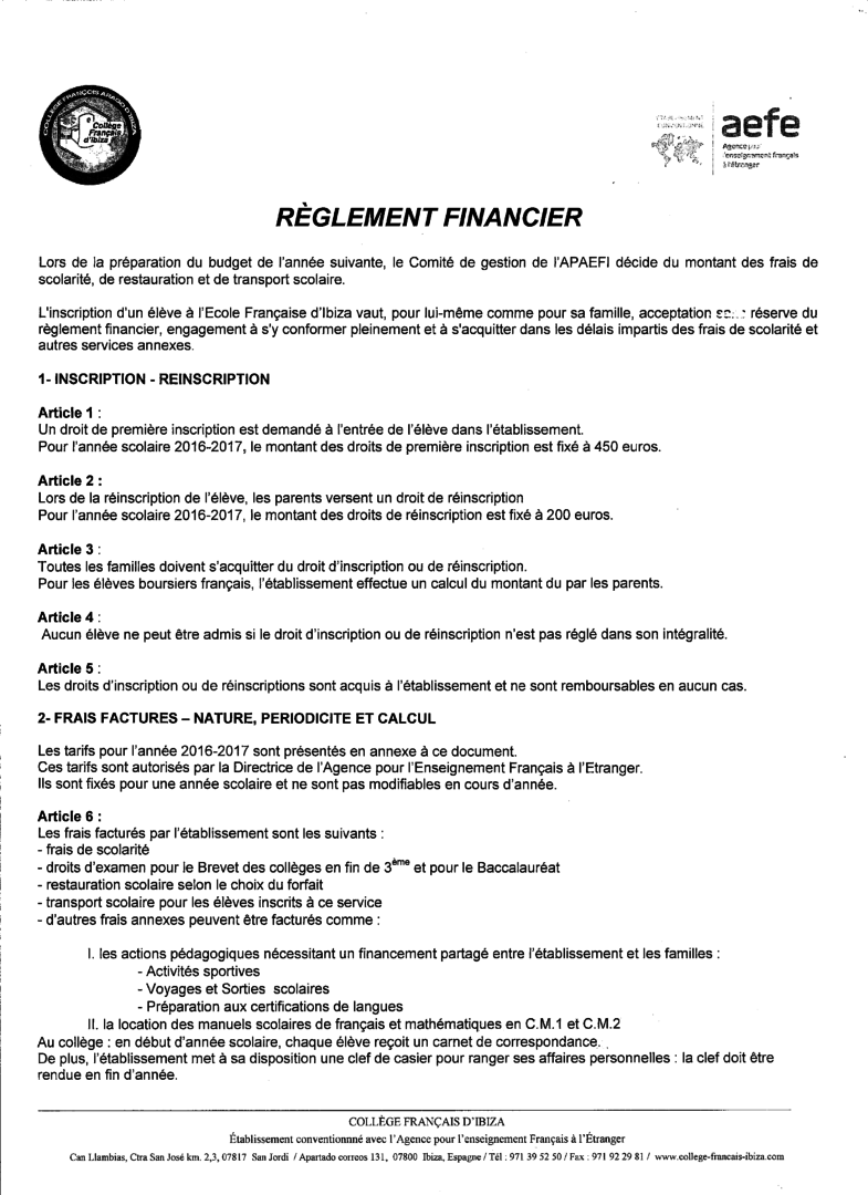 R glement financier coll ge fran ais d 39 ibiza for Reglement interieur entreprise pdf